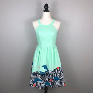 NWOT ModCloth Retro Dolphin Print A-Line Dress